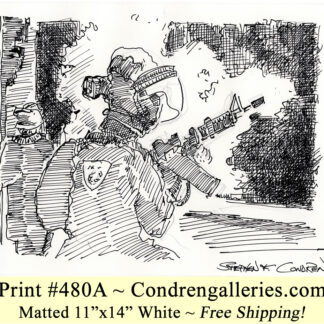 War scene 481A between Israel and Hamas pen & ink historic drawing by artist Stephen Condren.