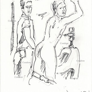 Gay hookup urinal 492A in the college men's room pen & ink figure drawing by artist Stephen Condren.