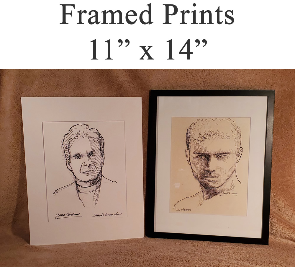 Framed figure drawings and painting prints.
