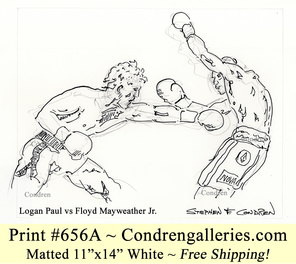 Logan Paul 656A vs Floyd Mayweather Jr. to a boxing match pen & ink celebrity drawing.