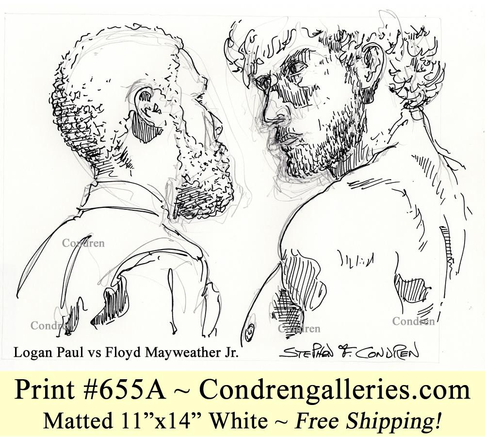 Logan Paul 655A vs Floyd Mayweather boxing match pen & ink celebrity drawing.