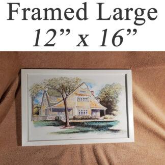 "Framed large house portraits 12"" x 16""."