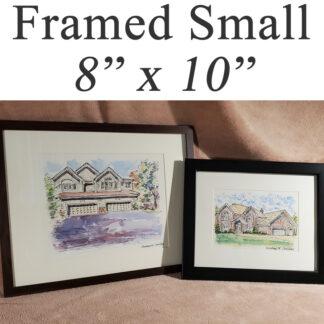 "Small framed house portraits 8"" x 10""."
